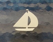 Sailboat Die Cut - Choice of Color(s) -  Sailing Sea Wind Boating  Windjammer Sail  Watercraft Paper Cardstock