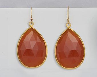 Orange Carnelian Earrings - gold Earrings - Large Gemstone Earrings - Drop earrings - Orange gemstone - dangle earrings - carnelian jewelry