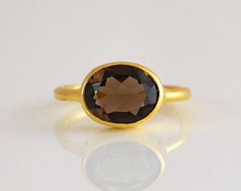 Smokey Quartz Ring - Gemstone Ring - Stacking Ring - Gold Ring - Oval Ring - bezel set ring - smokey quartz jewelry - smokey topaz