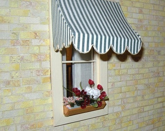 Traditional Dollhouse awnings with scalloped, trimmed edge in 1:12 scale.