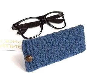 SALE - 50% OFF. Blue Glasses Case, Reading Glasses Cozy, Eyeglasses or Sunglasses Holder. Gift For Men.
