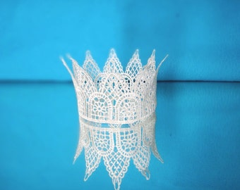 Ivory or White or Cream or Light Beige Lace Crown, Baby Photo Prop, Newborn Crown Baptism Baby Girl Crown
