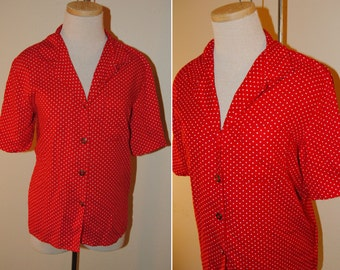 Vintage Red Polka Dot 1990s Women's Leslie Fay Size Medium Button Down