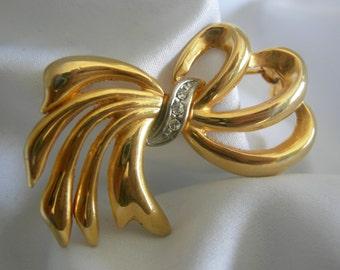 Gold Tone Rhinestone Ribbon Bow Brooch Pin | Signed Swarovski | Vintage