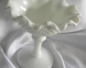 English Hobnail Ruffled Edge Milk Glass Pedestal Compote - Signed WESTMORELAND GLASS - Vintage Circa 1950-1960s