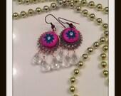 Magenta rain drop earrings