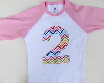 2 for 2nd Birthday Pink and White Raglan Rainbow Chevron Number or Any Birthday Number on Birthday Shirt