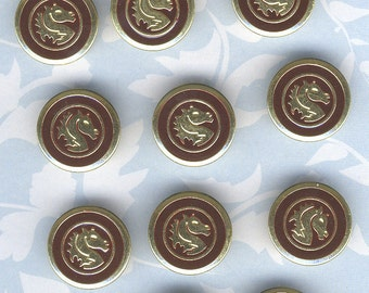 Set of 10 Gold and Burgundy Red Metal Buttons with Horse Design-Item#335