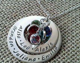Grandma Necklace, Mother Necklace, Family Names Necklace, Kids Names Necklace, Sterling Silver, Stamped Evermore