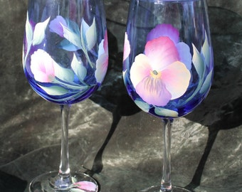 Hand Painted Wine Glasses (Set of 2) - Pansies