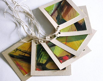 Hand-painted gift tags -- set of 6 tags / tan / multicolor / abstract design / OOAK / original GT-80