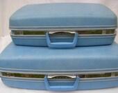 Vintage Baby Blue Samsonite Luggage Nesting Size Set of 2