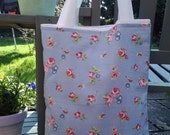 Cotton Tote Bag with Blue and Pink Rose Design