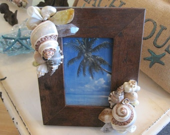 Seashell and Gemstone Picture Frame - Shell Frame - Brown Shell Picture Frame - Beach wedding