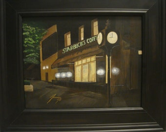 Clock in Front of Starbucks at Night in Downtown Athens, GA - Original  Painting - Last 3 days at this SALE price