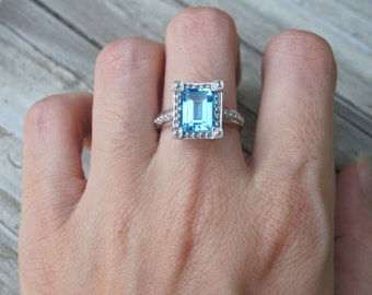 Stunning Topaz Ring- Engagement Ring- Blue Topaz Ring- December Birthstone Ring- Stone Ring- Germstone Ring- Promise Ring-