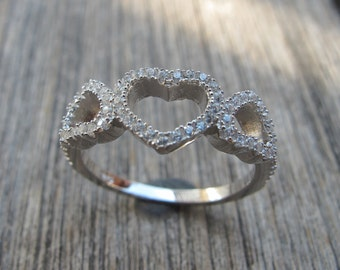 Heart Rings- Silver Rings- Crystal Rings- Heart Silver Ring- Heart Crystal Ring-Gemstone Rings- Stone Rings- Promise Rings- Rings-Heart
