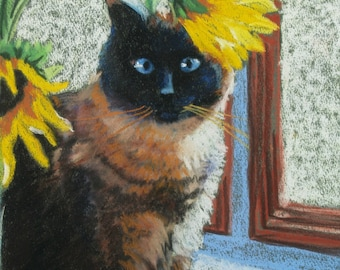 Cat Portrait Fine Art Giclee Print, Siamese Cat and Sunflowers, Pastel Painting By Jan Maitland, Archival Print, Cat, Flowers, 8x10