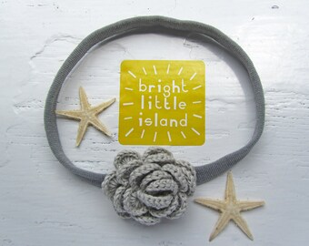 Crochet Camellia Headband in Silver Sprinkles (Grey) // Crochet Flower Knit Headband // Infant Headband // Newborn Headband // Photo Prop