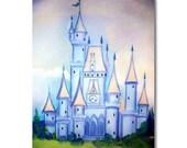 Castle Children Art, Baby Boy Nursery,  Prince Castle, Blue, Kids  Wall Art, Nursery Decor, Nursery Wall Art, Boys Room Decor, Kids Art