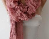 Christmas Gift - Pink Cotton Ruffle Shawl Scarf - Headband - Gift
