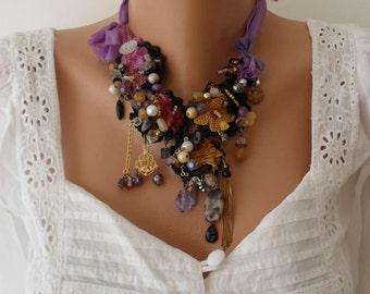 Unique Necklace - Wedding Necklace - Handmade Design - Summer Colors - Crochet and Bead Necklace