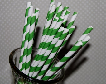 "100 KELLY GREEN and white barber striped paper drinking straws - with FREE blank Flags / Pendants. See also - ""Personalized"" flags option."