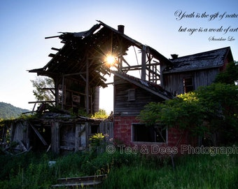Inspirational quote abandoned rustic barn