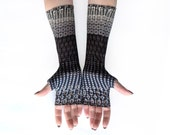Grey Shiny fingerless gloves, mittens, arm warmers - vintage, stempunk, goth, victorian, abstract, colorful, waves, glossy, goth, silky