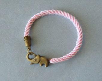 Elephant bracelet - kumihimo braid - pink and white