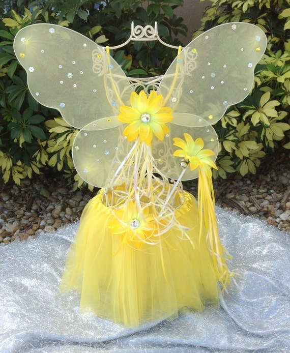Yellow Tutu Fairy Princess, Yellow Fairy Wings,  Princess Party favors, Tinkerbell Party, Princess Party Favors, Ballet party, Dance Recital