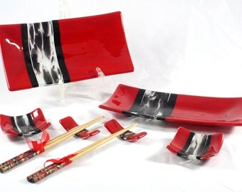 Fused Glass Sushi Set (For Two)- Red with Murano Stripe & Chopstick Rests (Made to Order)
