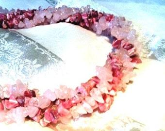 So Sweet Rose Quartz & Rhodochrosite Torsade Necklace