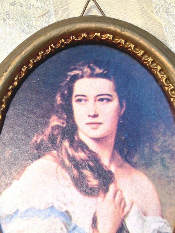 Vintage Portrait of Young Lady in Gilded Oval Frame Ready to Hang