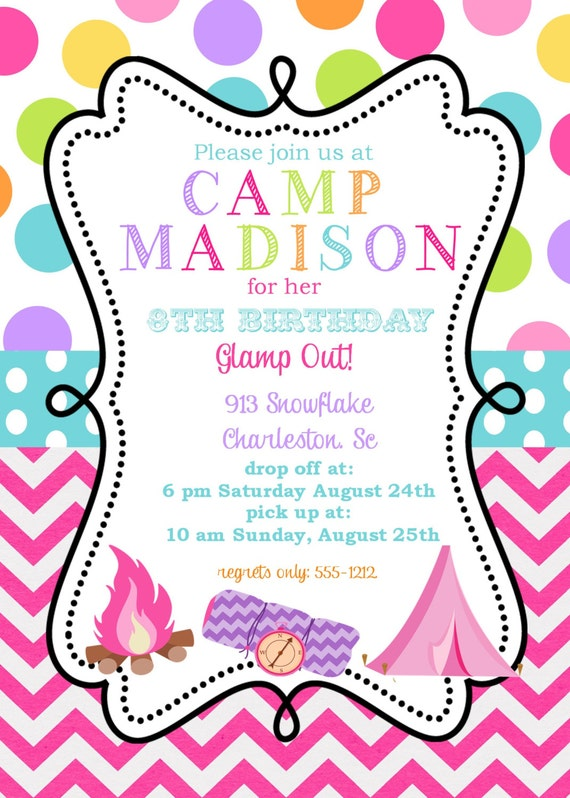 12 Girls Camping Birthday Party invitations with by ...