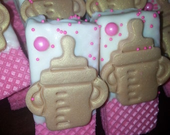 Chocolate Dipped Sugar Wafers with Marshmallow Fondant Bottles and Sugar Pearls
