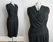 1950s Vintage Dress Black Jersey 50s Wiggle Dress LBD Hourglass Bombshell Body Con / Large