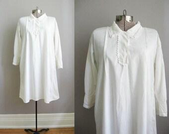 Antique Edwardian Chemise Nightgown / Lace Collar Blouse / Edwardian Blouse