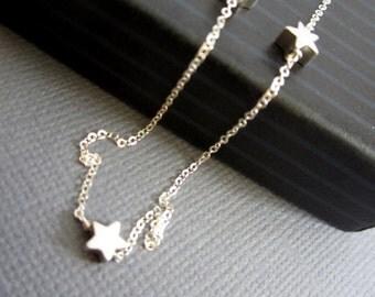 Sterling silver 3 Star Necklace, mamma mia necklace, Sofie's star necklace, Dainty necklace, Three sterling silver star Jewelry