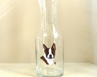 Boston Terrier, Painted Wine Decanter, Carafe, Home Decor, Custom Pet Portrait, Bar Decor, Glass Container, Custom Decanter, Wine Holder