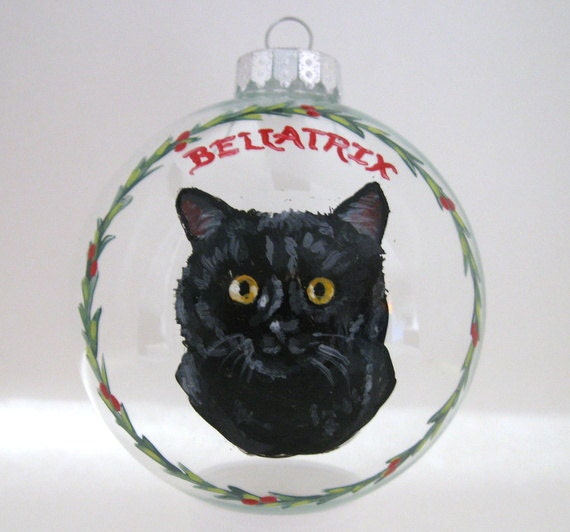 Cat ornament christmas ball hand painted cat personalized for Cat christmas ornaments craft