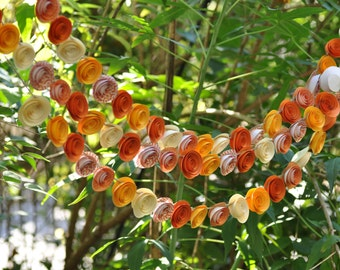 Paper Flower Garlands Fall Garland, Thanksgiving garland, orange, yellow and ivory