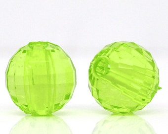Green Acrylic Faceted Round Beads, 8mm, pack of 50 loose beads