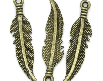 10 Pieces Antique Bronze Feather Charms