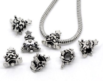 10 Pieces Antique Silver Christmas Tree European Charms