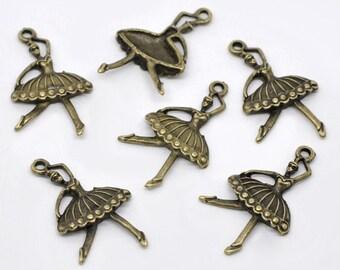 10 pieces Antique Bronze Ballerina Charms