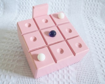 Tic Tac Toe, wooden pink travel game, wood tic tack toe board, vintage marbles, little girl birthday gift summer vacation classic games game