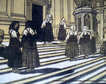 1920s PELLIGRINI a LORETO by Carolis DANTE Woodcut Print Ideal for Framing