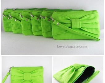 SUPER SALE - Set of 6 Wedding Clutches, Bridesmaids Clutches / Lime Green Bow Clutches - Made To Order