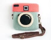 Crochet Lomo Camera Purse/ Pastel Mint-Chocky Pink Color